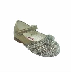 Туфли балетные, цвет серебристо-пудровый, с бусинами