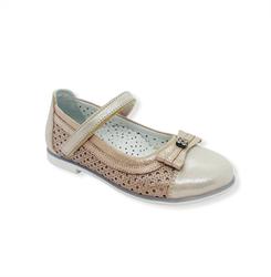 Туфли для девочки, цвет бежевый, ремешок на липучке,перфорация