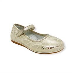 Туфли для девочки, цвет золотистый (с принтом), ремешок на липучке