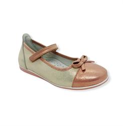 Туфли для девочки, цвет бежевый/коричневый, ремешок на липучке,перфорация