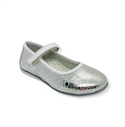 Туфли для девочки, цвет белый/серебристый, ремешок на липучке
