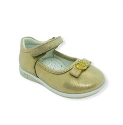 Туфли для девочки, цвет золотистый, ремешок на липучке