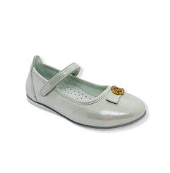 Туфли для девочки, цвет серебристый, ремешок на липучке