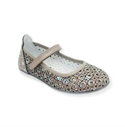 Туфли для девочки, цвет бежевый, ремешок на липучке, перфорация