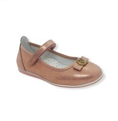 Туфли для девочки, цвет золотисто-пудровый, ремешок на липучке