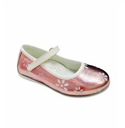 Туфли для девочки, цвет розовый (цветочный принт), ремешок на липучке