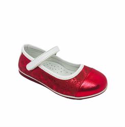 Туфли для девочки, цвет красный (узор), ремешок на липучке