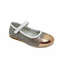 Туфли для девочки, цвет золотистый (узор), ремешок на липучке