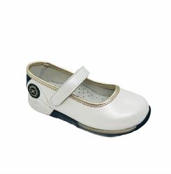 Туфли для девочки, цвет белый, на липучке