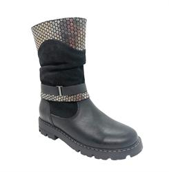 Сапоги для девочки, цвет  черный с декоративные элементы