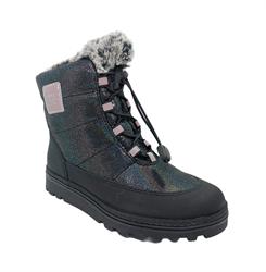 Ботинки для девочки, цвет черный, шнурки-резинка