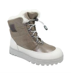 Ботинки для девочки, цвет бежевый, шнурки-резинка