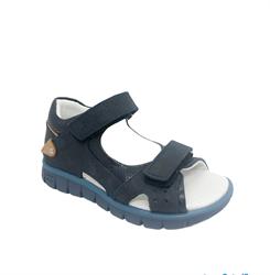 Сандалии для мальчика, цвет темно-синий (бежевый элемент), на липучках