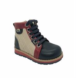 Ботинки для мальчика, цвет  бежевый/синий, молния/шнурки