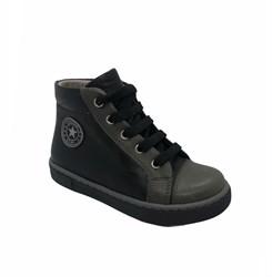 Ботинки-кеды демисезонные для мальчика, цвет черный, молния/шнурки