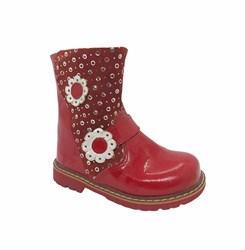 Сапоги для девочки, цвет красный, лаковая кожа, декоративные элементы