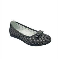Туфли для девочки, цвет серый металлик