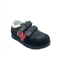 Кроссовки для мальчика, цвет синий/красный/белый, на липучках
