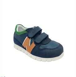 Кроссовки для мальчика, цвет синий/оранжевый, на липучках