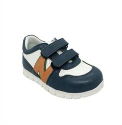 Кроссовки для мальчика, цвет белый/синий, на липучках