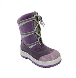 Сапожки для девочки, цвет сиреневый с утягивающими шнурками