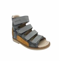 Сандалии ортопедические, цвет серый (камуфляж), на липучках