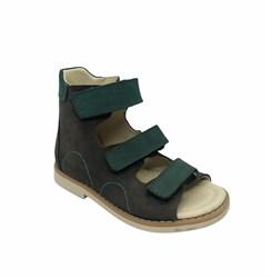 Сандалии ортопедические для мальчика, цвет коричневый/зеленый, на липучках