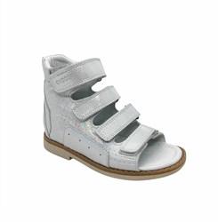 Сандалии ортопедические для девочки, цвет серебристый (узор), на липучках