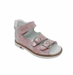 Сандалии ортопедические, для девочки, цвет серебристо-розовый (цветочный принт), застежки/липучки