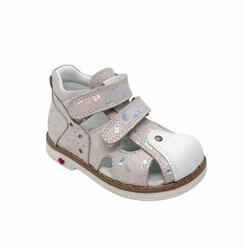 Сандалии ортопедические для девочки, цвет розовый (узор)/белый, на липучках