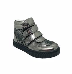 Ботинки для девочки, цвет серебристый, на липучках