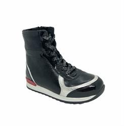 Ботинки для девочки, цвет черный, шнурки/молния