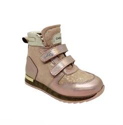 Ботинки для девочки, цвет золотисто-пудровый, на липучках