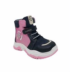 Ботинки кроссовочного типа для девочки, цвет сине-лиловый, липучка/шнурки