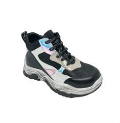 Ботинки кроссовочного типа,  для девочки, цвет  серебристо-черный