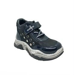 Ботинки кроссовочного типа,  для девочки, цвет синий, липучка/шнурки