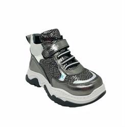 Ботинки кроссовочного типа,  для девочки, цвет темно-серебристый