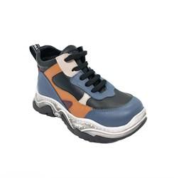 Ботинки кроссовочного типа,  для мальчика, цвет голубой/оранжевый