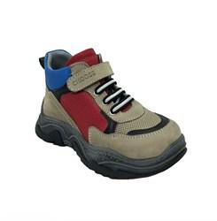 Ботинки кроссовочного типа,  для мальчика, цвет  бежевый/красный