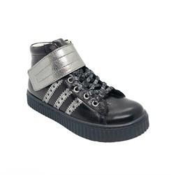 Ботинки для девочки, цвет черный/серебристый, липучка/шнурки