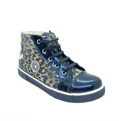 Ботинки - кеды для девочки, цвет синий (леопард), молния/шнурки