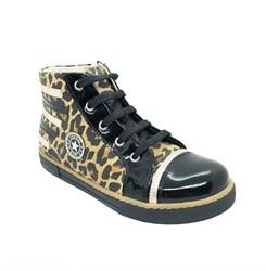 Ботинки - кеды для девочки, цвет черный/желтый (леопард) черный мыс