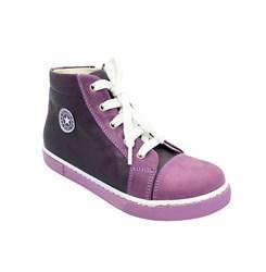 Ботинки - кеды для девочки, цвет сиреневый, молния/шнурки