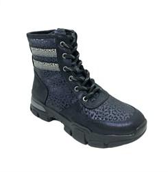 Ботинки для девочек, цвет синий (леопард), шнурки/молния