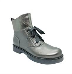 Ботинки для девочки, цвет серебристый, молния/шнурки