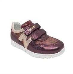 Кроссовки для девочки, цвет бордовый/бежевый, на липучках