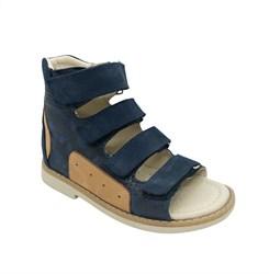 Сандалии ортопедические для мальчика, цвет темно-синий (камуфляж), на липучках