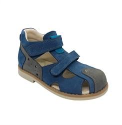Сандалии ортопедические для мальчика, цвет синий/серый, на липучках