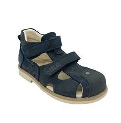 Сандалии ортопедические для мальчика, цвет темно-синий (камуфляж)/черный, на липучках