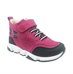 Ботинки демисезонные, цвет малиновый, шнурки/липучка